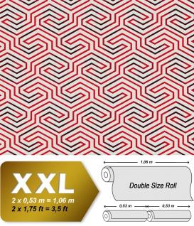 Grafik Tapete EDEM 84114BR90 Vliestapete leicht strukturiert mit Ornamenten glänzend weiß himbeer-rot schwarz 10, 65 m2