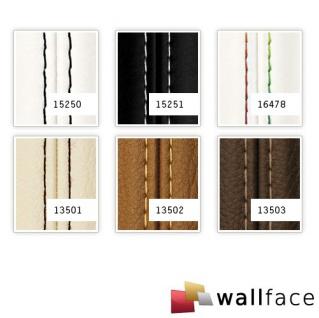 Wandpaneel Leder Design Echtnaht WallFace 15250 LEATHER ZN schwarz Wandplatte Paneel selbstklebend weiß 2, 60 qm - Vorschau 2