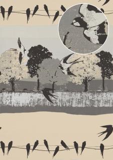 Vogel Tapete Atlas SIG-583-2 Vliestapete glatt mit Landschaften und metallischen Akzenten grau anthrazit perl-hell-grau perl-weiß 5, 33 m2
