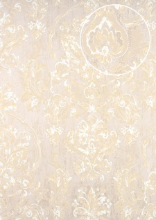 Barock Tapete ATLAS CLA-602-6 Vliestapete geprägt mit floralen Ornamenten glänzend beige grau-beige perl-beige perl-weiß 5, 33 m2