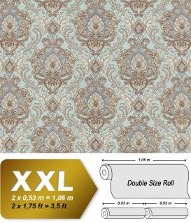 Barock Tapete EDEM 9063-39 Vliestapete geprägt mit Ornamenten glänzend türkis creme-weiß silber braun 10, 65 m2