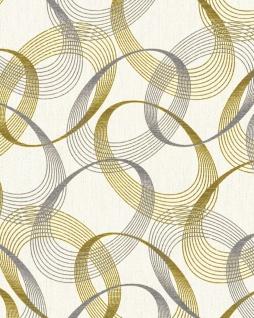 Grafik Tapete EDEM 85034BR30 Vinyltapete leicht strukturiert mit abstraktem Muster und metallischen Akzenten creme perl-weiß gold silber 5, 33 m2