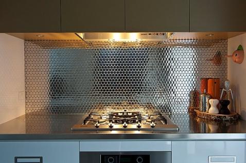 Mosaik Fliese massiv Metall Edelstahl hochglänzend in grau 1, 6mm stark ALLOY Dollar-S-S-M 0, 88 m2 - Vorschau 4