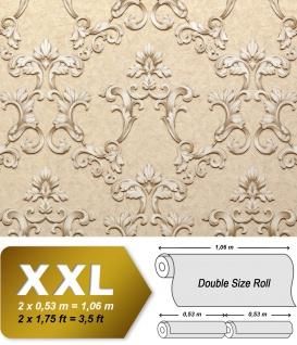Barock Tapete EDEM 9085-23 heißgeprägte Vliestapete geprägt mit floralen 3D Ornamenten schimmernd creme grau-weiß hell-elfenbein grau-beige 10, 65 m2