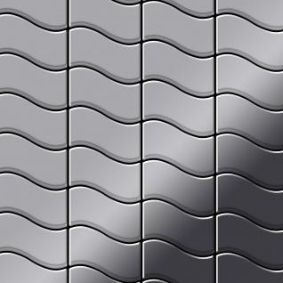 Mosaik Fliese massiv Metall Edelstahl hochglänzend in grau 1, 6mm stark ALLOY Flux-S-S-M Designed by Karim Rashid 0, 86 m2