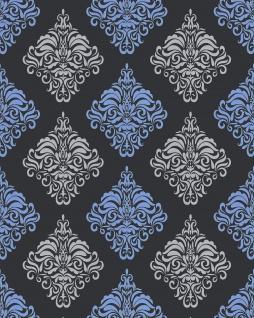 Barock Tapete EDEM 85024BR22 Vinyltapete glatt mit Ornamenten und metallischen Akzenten anthrazit dunkel-grau violett-blau silber 5, 33 m2