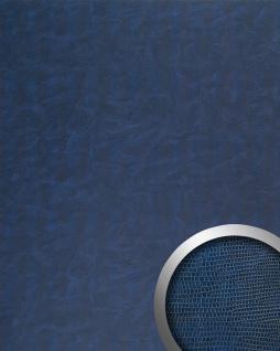 Wandplatte Wandverkleidung selbstklebend WallFace 16986 LEGUAN Wandpaneel Leder Leguan-Haut Dekor blau 2, 60 qm