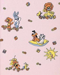 Kindertapete EDEM 007-24 Kinder-Zimmer Tapete Vinyl mit Motiven Löwe Hase Biene Sonne bunte farben Rosa Zart-Pink