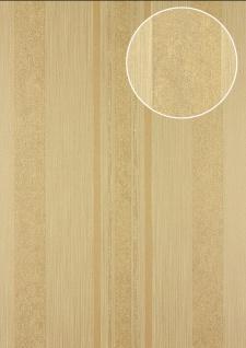 Streifen Tapete Atlas 24C-5059-7 Vliestapete glatt mit grafischem Muster und metallischen Akzenten braun beige gold 7, 035 m2