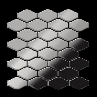 Mosaik Fliese massiv Metall Edelstahl hochglänzend in grau 1, 6mm stark ALLOY Karma-S-S-M Designed by Karim Rashid 0, 86 m2 - Vorschau 3