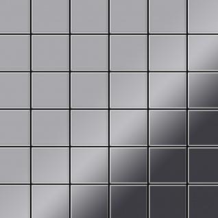 Mosaik Fliese massiv Metall Edelstahl marine hochglänzend in grau 1, 6mm stark ALLOY Cinquanta-S-S-MM 0, 94 m2