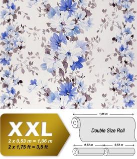 Blumen Tapete Vliestapete Landhaus Tapete EDEM 907-03 Tapete XXL Floral Textiloptik Weiß hell-lila blau grau 10, 65 qm