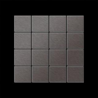 Mosaik Fliese massiv Metall Titan gebürstet in dunkelgrau 1, 6mm stark ALLOY Cinquanta-Ti-SB 0, 94 m2 - Vorschau 3