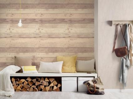 Holz Tapete Profhome 368702-GU Vliestapete glatt in Holzoptik matt grau weiß beige 5, 33 m2 - Vorschau 3
