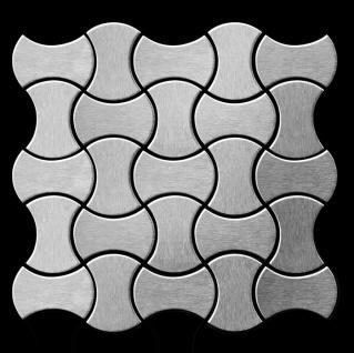 Mosaik Fliese massiv Metall Edelstahl marine gebürstet in grau 1, 6mm stark ALLOY Infinit-S-S-MB Designed by Karim Rashid 0, 91 m2 - Vorschau 3