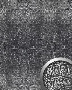 Wandpaneel 3D WallFace 13521 CROCO Design Platte Struktur Blickfang Dekor selbstklebende Tapete schwarz silber 2, 60 qm