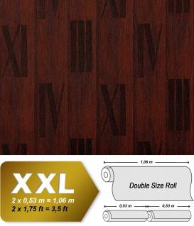 Holz Tapete Vliestapete EDEM 945-26 Geprägte Tapete in Holzoptik Holzdielen Römische Zahlen Nussbaum tabak-braun 10, 65 qm