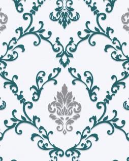 Barock Tapete EDEM 85026BR25 Vinyltapete glatt mit Ornamenten und metallischen Akzenten weiß türkis perl-enzian silber 5, 33 m2