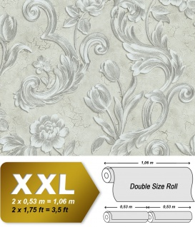 Blumen Tapete EDEM 9013-30 heißgeprägte Vliestapete geprägt mit floralen Ornamenten und metallischen Akzenten creme weiß silber grau 10, 65 m2