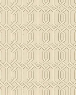 Grafik Tapete Profhome BA220014-DI heißgeprägte Vliestapete geprägt mit geometrischen Formen und metallischen Akzenten beige bronze 5, 33 m2