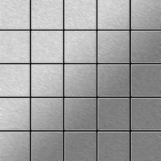 Mosaik Fliese massiv Metall Edelstahl gebürstet in grau 1, 6mm stark ALLOY Century-S-S-B 0, 5 m2