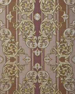 Barock-Tapete EDEM 580-34 Hochwertige geprägte Tapete in Textiloptik und Metallic Effekt rot-braun perl-gold silber 5, 33 m2