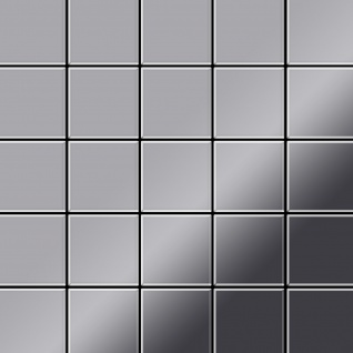 Mosaik Fliese massiv Metall Edelstahl hochglänzend in grau 1, 6mm stark ALLOY Century-S-S-M 0, 5 m2