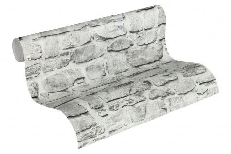 Stein Kacheln Tapete Profhome 363701-GU Vliestapete glatt in Steinoptik matt grau beige 5, 33 m2 - Vorschau 2