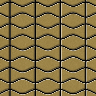Mosaik Fliese massiv Metall Titan gebürstet in gold 1, 6mm stark ALLOY Kismet & Karma-Ti-GB Designed by Karim Rashid 0, 86 m2