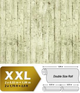 Holz Tapete EDEM 81108BR03 heißgeprägte Vliestapete leicht strukturiert im Shabby Chic Stil matt oliv creme-weiß braun 10, 65 m2