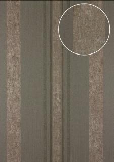 Streifen Tapete Atlas 24C-5059-4 Vliestapete glatt mit grafischem Muster und metallischen Akzenten braun grau kupfer 7, 035 m2