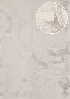 Grafik Tapete Atlas SIG-586-1 Vliestapete glatt im maritimen Design schimmernd creme rein-weiß hell-elfenbein licht-grau 5, 33 m2