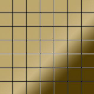 Mosaik Fliese massiv Metall Titan hochglänzend in gold 1, 6mm stark ALLOY Attica-Ti-GM 0, 85 m2