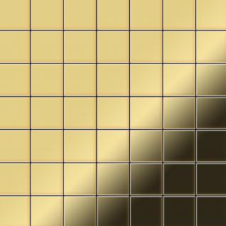 Mosaik Fliese massiv Metall Messing gewalzt in gold 1, 6mm stark ALLOY Attica-BM 0, 85 m2