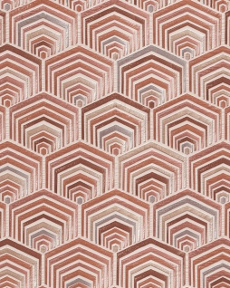 Ethno Tapete Profhome DE120044-DI heißgeprägte Vliestapete geprägt im Ethno-Stil glänzend creme rosé bronze silber 5, 33 m2