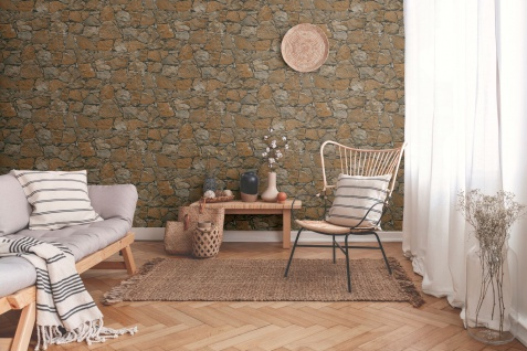 Stein Kacheln Tapete Profhome 958631-GU Vliestapete glatt in Steinoptik matt braun beige schwarz 5, 33 m2 - Vorschau 3
