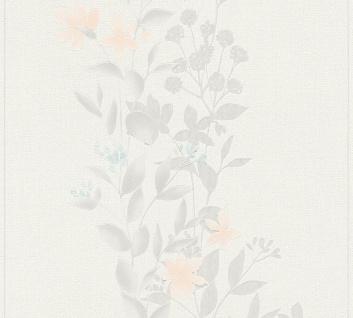 Blumen Tapete Profhome 372663-GU Vliestapete leicht strukturiert mit floralen Ornamenten matt grau orange blau 5, 33 m2