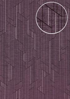 Grafik Tapete ATLAS XPL-565-1 Vliestapete strukturiert mit geometrischen Formen schimmernd violett pastell-violett perl-violett perl-rosa 5, 33 m2