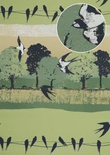 Vogel Tapete Atlas SIG-583-5 Vliestapete glatt mit Landschaften und metallischen Akzenten grün blass-grün graphit-grau gold 5, 33 m2