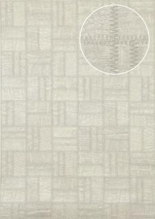 Präge Tapete Atlas STI-1015-1 Vliestapete geprägt in Lederoptik schimmernd silber licht-grau papyrus-weiß weiß-aluminium 7, 035 m2