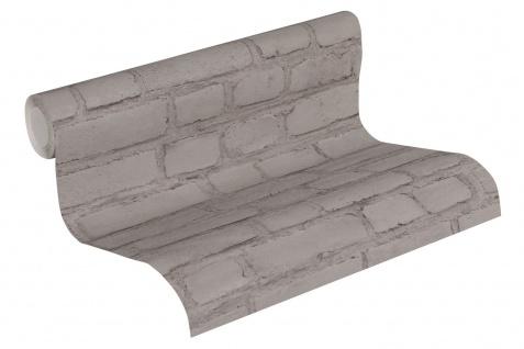 Stein Kacheln Tapete Profhome 374143-GU Vliestapete glatt in Steinoptik matt grau schwarz 5, 33 m2 - Vorschau 2