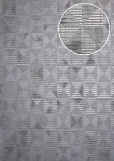 Ton-in-Ton Tapete ATLAS XPL-592-7 Vliestapete strukturiert mit geometrischen Formen schimmernd platin silber grau-aluminium grau 5, 33 m2