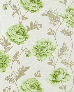 Blumen Tapete Landhaustapete EDEM 086-25 Romantik Tapete Floral Vinyltapete Rosen Blüten Crashoptik hellbeige hellgrün