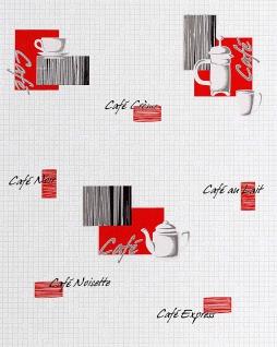 Küchen Tapete EDEM 062-24 Tapete Café Kaffeehaus-Motive Mosaiksteine Kachelstruktur weiß cremeweiß rot schwarz silber