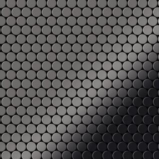 Mosaik Fliese massiv Metall Titan hochglänzend in dunkelgrau 1, 6mm stark ALLOY Penny-Ti-SM 0, 92 m2