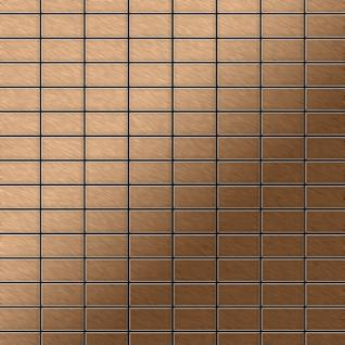 Mosaik Fliese massiv Metall Titan gebürstet in kupfer 1, 6mm stark ALLOY Bauhaus-Ti-AB 1, 05 m2