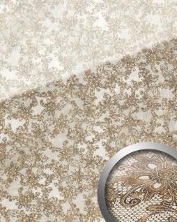 Wandpaneel Glas-Optik Französiche Spitze Muster WallFace 17839 LACE Wandverkleidung selbstklebend weiß braun | 2, 60 qm
