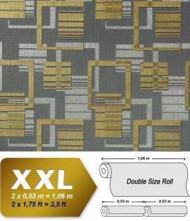 Grafische Muster Retro Tapete Vliestapete EDEM 609-96 70er Tapete XXL Designer 3D Retro Muster abstrakt grau silber gold 10, 65 qm