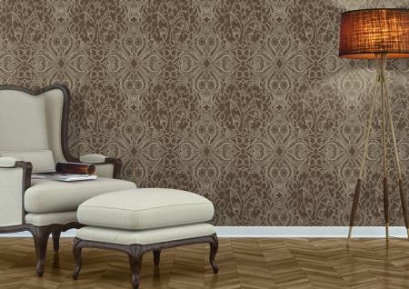 Barock Tapete ATLAS CLA-597-9 Vliestapete geprägt mit grafischem Muster glänzend braun perl-gold braun-grau 5, 33 m2 - Vorschau 5