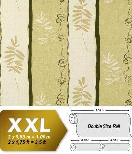 Streifen Tapete Vliestapete EDEM 685-95 XXL Designer Tapete florales Muster Breite Weiß hellgrün olive 10, 65 qm